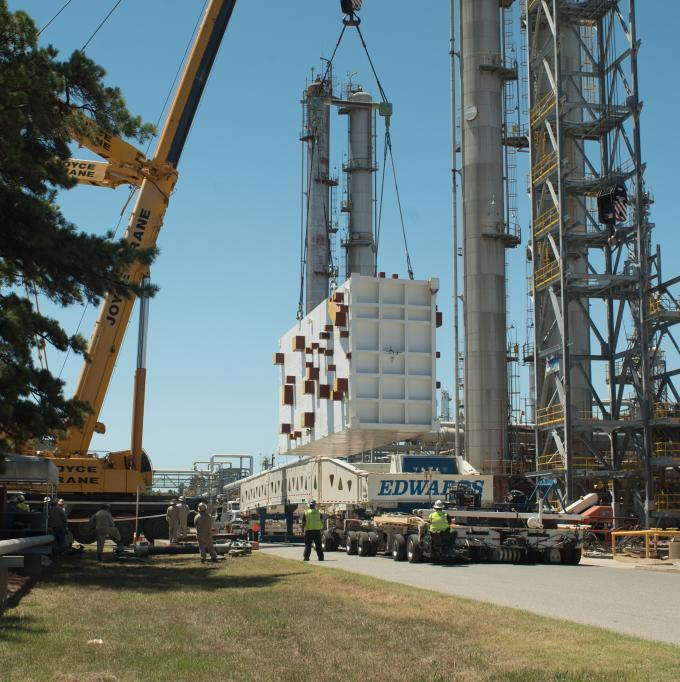 """The big """"heat exchanger"""" being installed at Eastman with the 600 ton crane."""