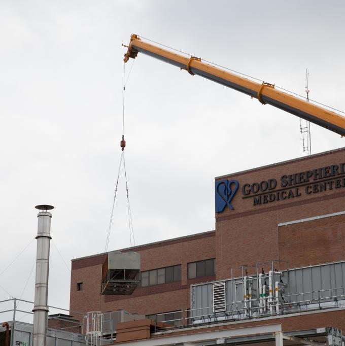 Replacing an old HVAC system at Good Shepherd Medical Center in Longview, TX.